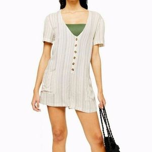 New Topshop Striped Button Front Romper